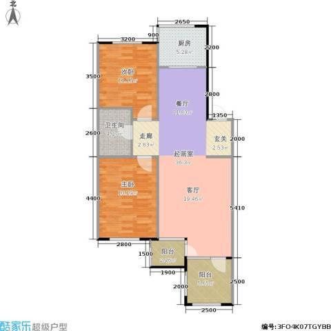 亚瑟蓝湾2室0厅1卫1厨105.00㎡户型图