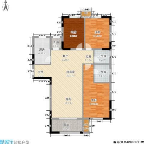 雪松新城3室0厅2卫1厨114.00㎡户型图