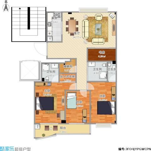 温州南湖小区4室1厅3卫1厨145.00㎡户型图