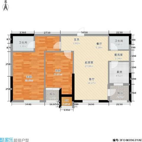 雪松新城2室0厅2卫1厨86.00㎡户型图
