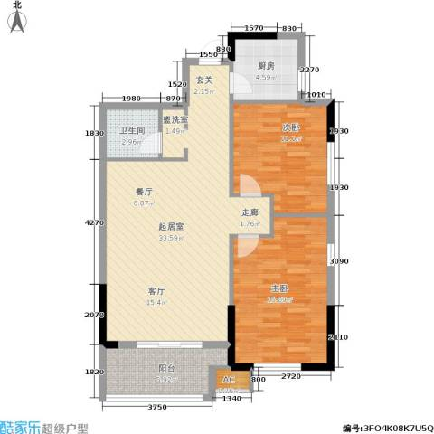 雪松新城2室0厅1卫1厨83.00㎡户型图