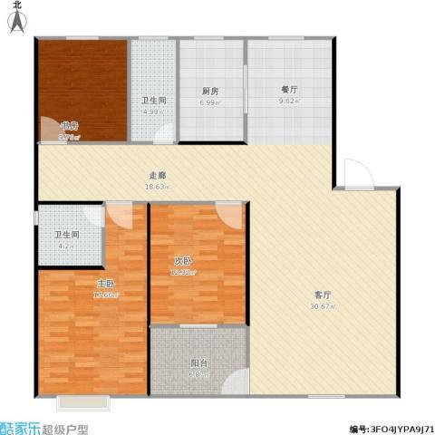 丹桂苑3室1厅2卫1厨162.00㎡户型图