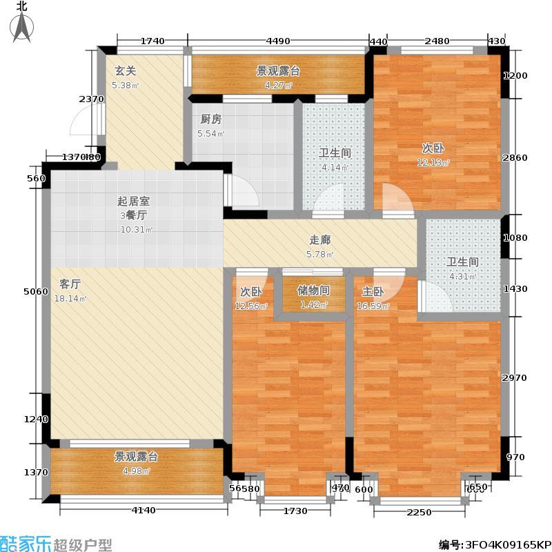 华城世界一期碧林户型3室2卫1厨