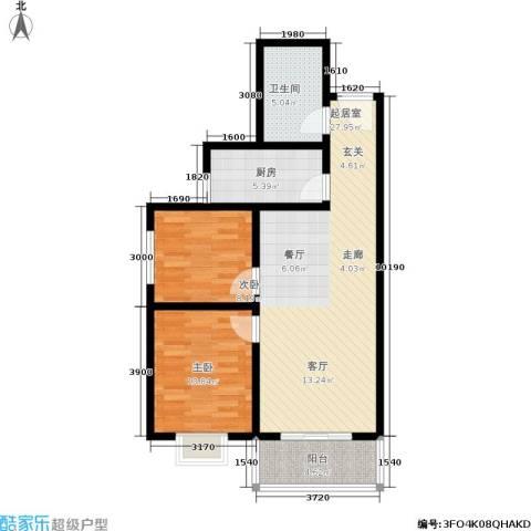 凤鸣华府二期颐和郡2室0厅1卫1厨88.00㎡户型图