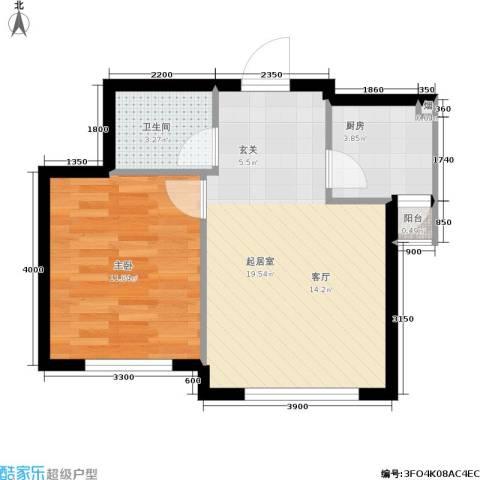 博客地带1室0厅1卫1厨55.00㎡户型图