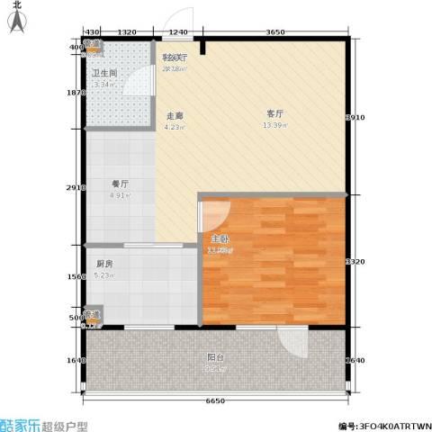 亿海玉树临居1室1厅1卫1厨59.00㎡户型图