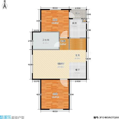 亿海玉树临居2室1厅1卫1厨88.00㎡户型图