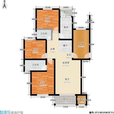 珠港花苑3室0厅2卫1厨104.00㎡户型图