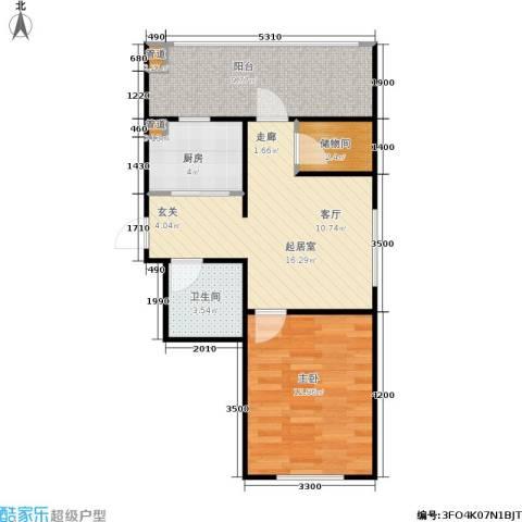 恒运雅居1室0厅1卫1厨53.00㎡户型图