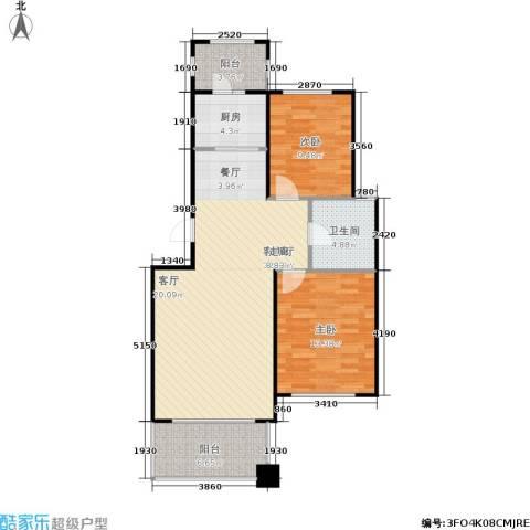 亿海玉树临居2室1厅1卫1厨84.00㎡户型图