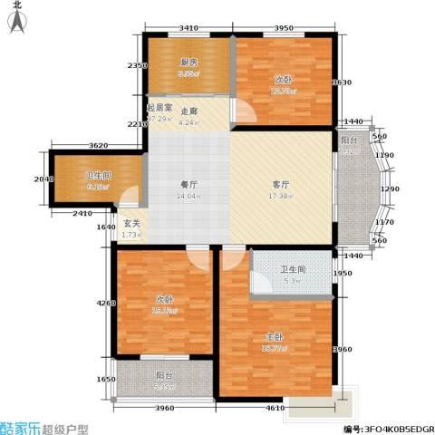 绿城都市花园3室0厅2卫1厨160.00㎡户型图