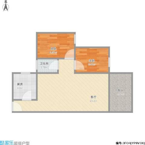 龙城花园2室1厅1卫1厨60.00㎡户型图
