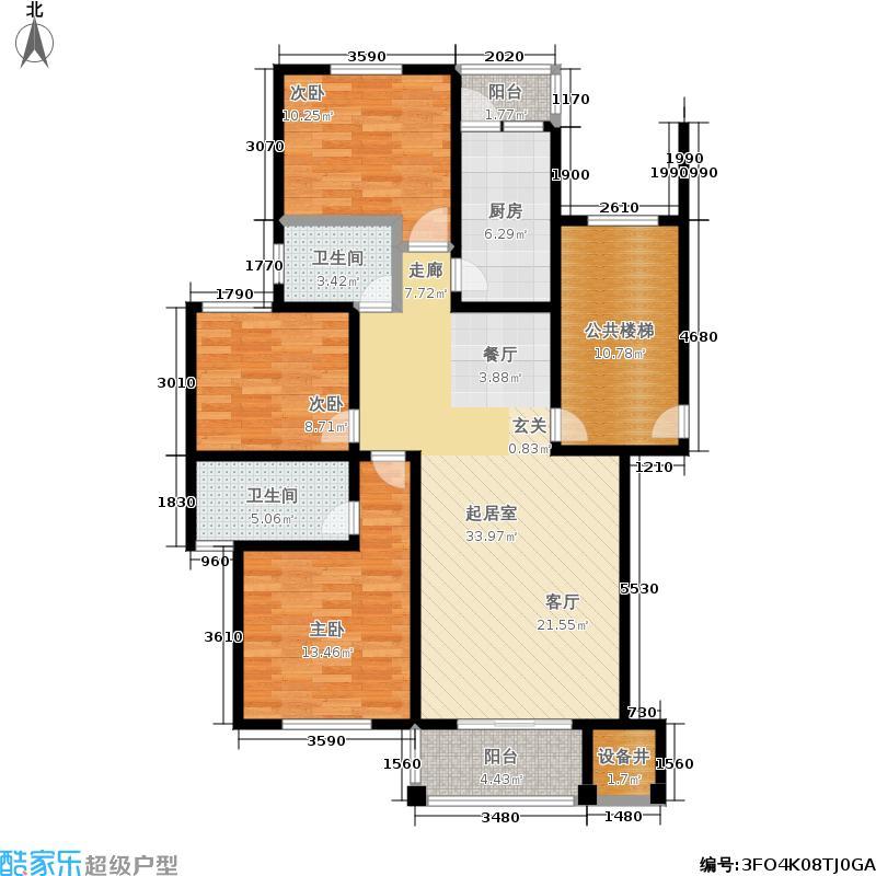 珠港花苑户型3室2卫1厨