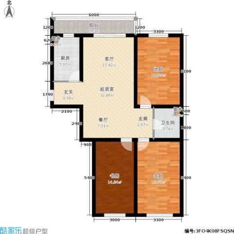红田美林居3室0厅1卫1厨127.00㎡户型图