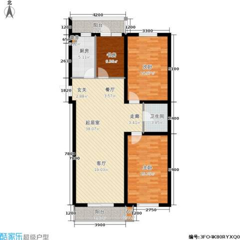 红田美林居3室0厅1卫1厨125.00㎡户型图