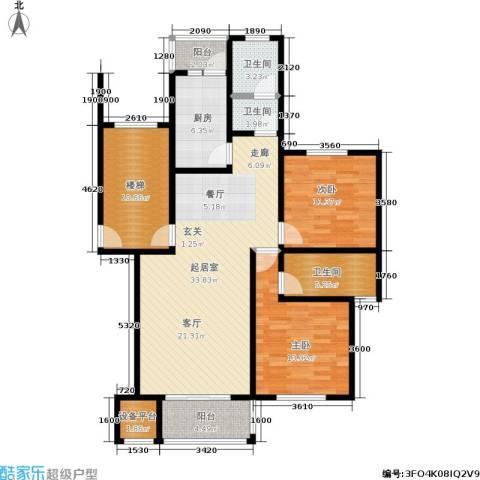 珠港花苑2室0厅3卫1厨104.00㎡户型图