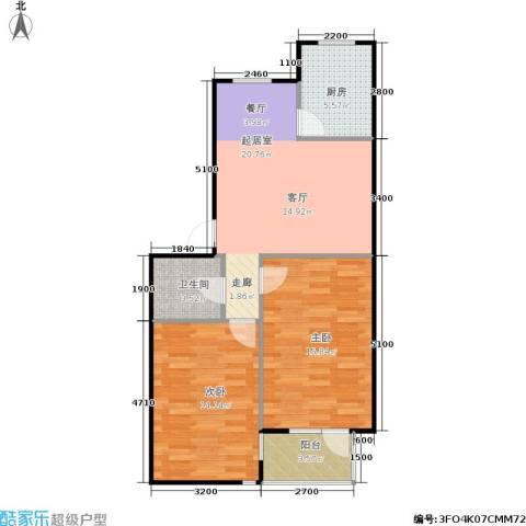 亚瑟蓝湾2室0厅1卫1厨85.00㎡户型图
