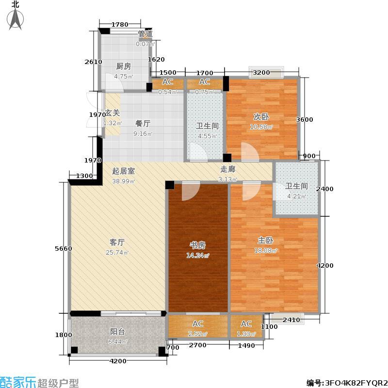 华城广场户型3室2卫1厨