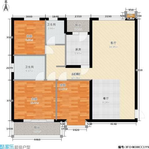 紫薇田园都市三期3室0厅2卫1厨111.00㎡户型图