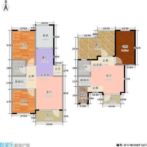 亚瑟蓝湾3室0厅2卫1厨100.00㎡户型图