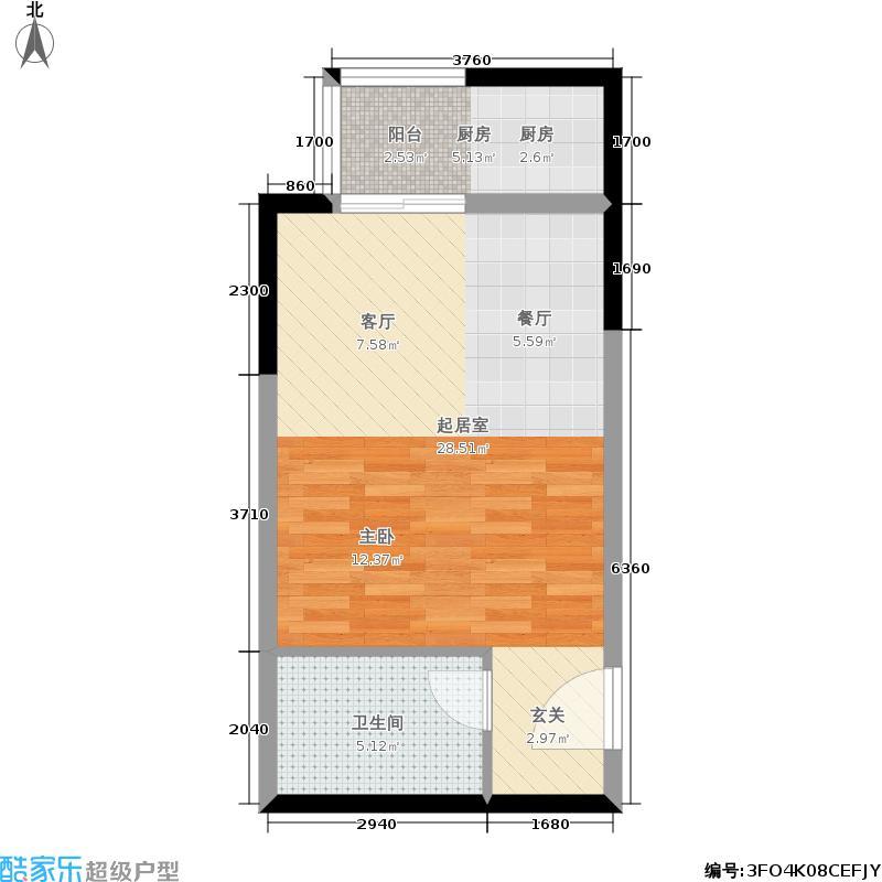 嘉辰时代公寓户型1卫1厨