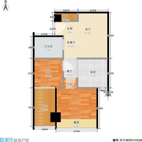 新生活摩尔城柠檬墅2室1厅1卫1厨54.00㎡户型图