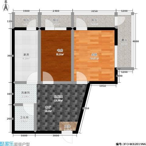 城市经典2室0厅1卫1厨51.12㎡户型图