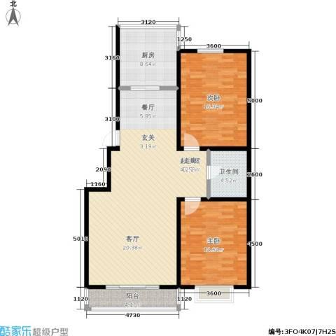鑫丰国际2室0厅1卫1厨124.00㎡户型图