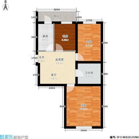 红田美林居3室0厅1卫1厨76.00㎡户型图