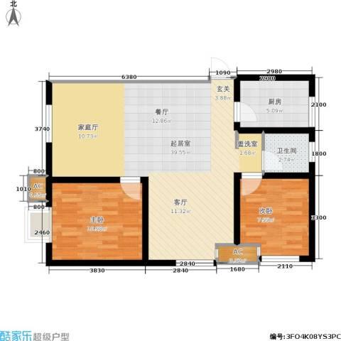 大通一番街2室0厅1卫1厨96.00㎡户型图