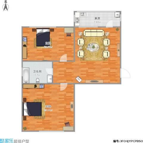 西美70后院2室1厅1卫1厨135.00㎡户型图