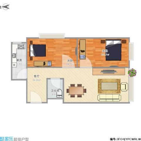 城市皇冠2室1厅1卫1厨94.00㎡户型图