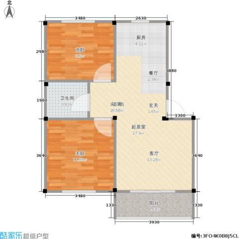 龙海-新加坡花园城2室0厅1卫0厨62.00㎡户型图