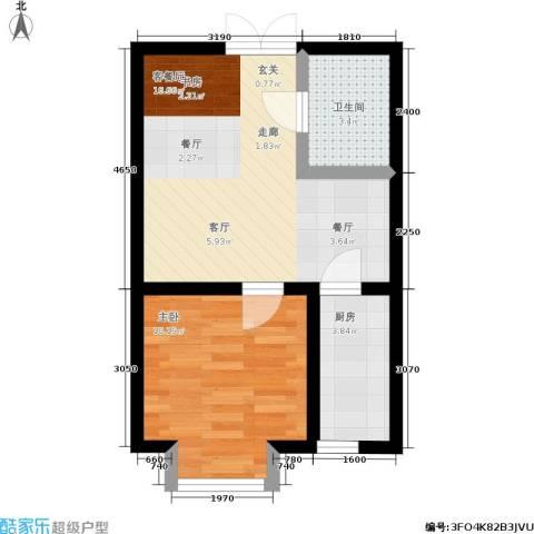 岸上公馆1室1厅1卫1厨48.00㎡户型图