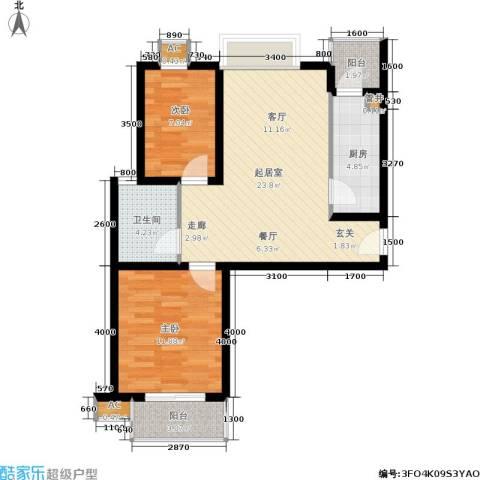 东渡国际青年城2室0厅1卫1厨84.00㎡户型图