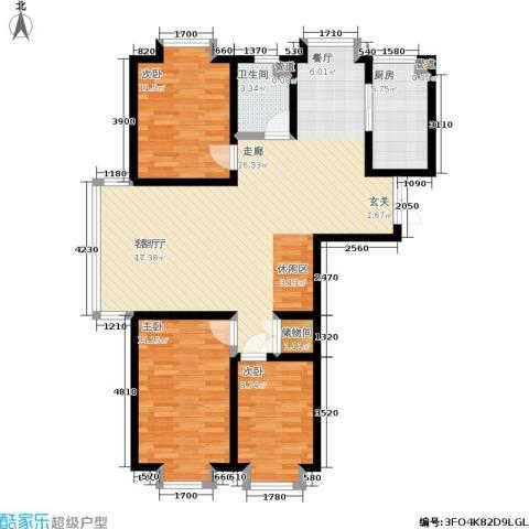 岸上公馆3室1厅1卫1厨113.00㎡户型图