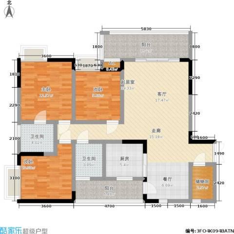 水木青华・小小岛 小小岛 水木青华3室0厅2卫1厨103.17㎡户型图