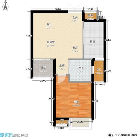 中南・麒麟锦城1室0厅1卫1厨58.00㎡户型图