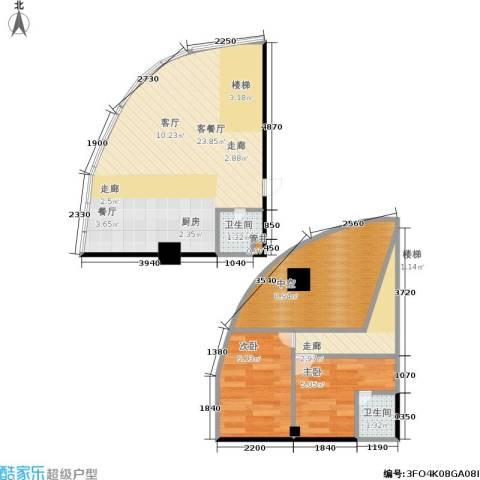 名城国际公馆2室1厅2卫0厨55.00㎡户型图