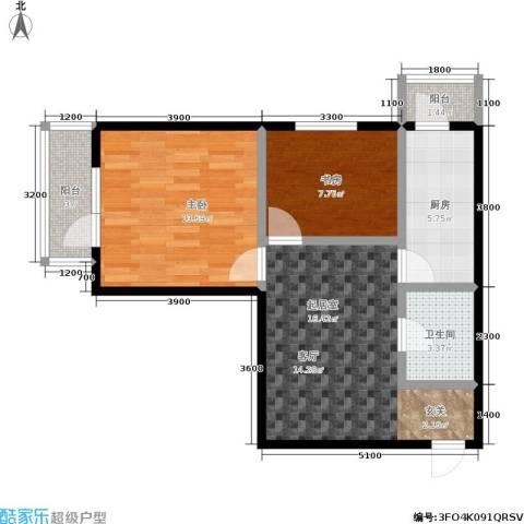 城市经典2室0厅1卫1厨51.42㎡户型图