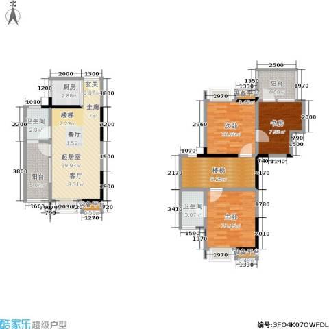 鑫远・湘府东苑 鑫远a派3室0厅2卫1厨110.00㎡户型图