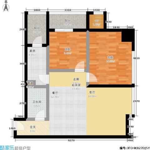 唐沣国际广场2室0厅1卫1厨88.00㎡户型图