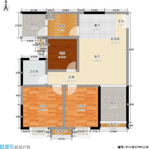 鑫远・湘府东苑 鑫远a派3室0厅1卫1厨101.00㎡户型图