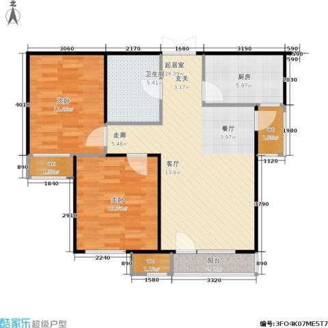 中海英伦观邸2室0厅1卫1厨83.00㎡户型图