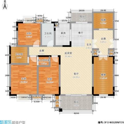鑫远・湘府东苑 鑫远a派3室0厅2卫1厨123.00㎡户型图