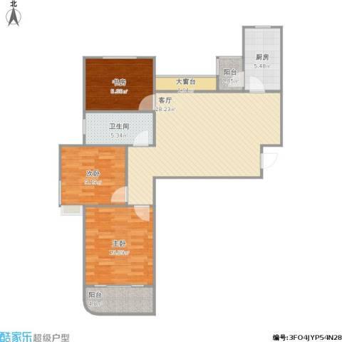 金桥澎湖湾3室1厅1卫1厨106.00㎡户型图