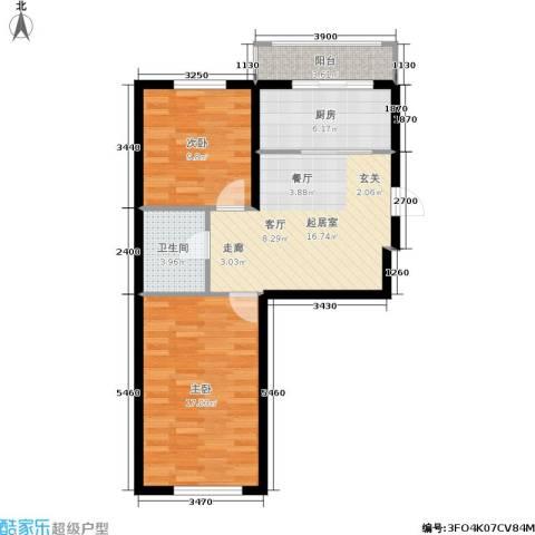 瀚博西耶纳2室0厅1卫1厨81.00㎡户型图