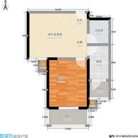 军蔷苑1室0厅1卫1厨62.00㎡户型图