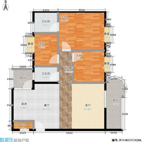 望海汇景苑3室1厅2卫0厨99.00㎡户型图