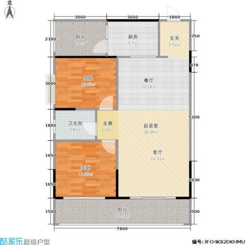 瑞凯・景城苑2室0厅1卫1厨114.00㎡户型图
